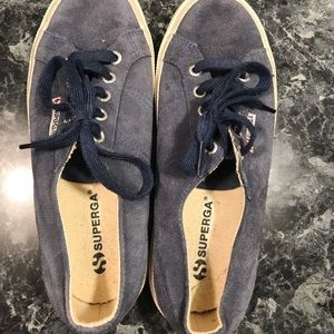 Superga blue suede sneakers .. women's 7 1/2